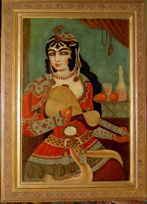 Qajar Painting Oil on Canvas. 19th century