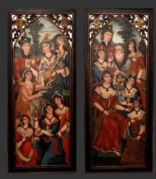 A pair of qajar paintings