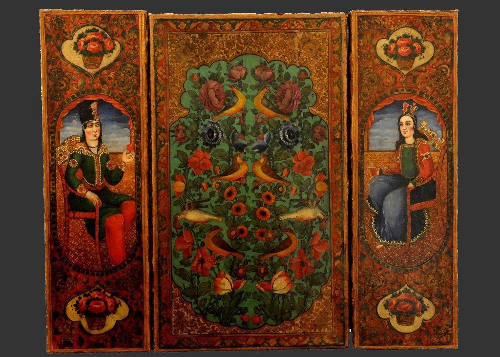 Qajar Oil On Canvas Three Piece Painting