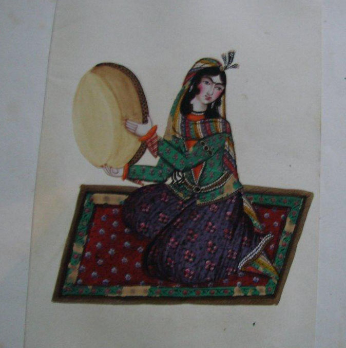 Four Water Color Miniatures, Qajar 19th centur